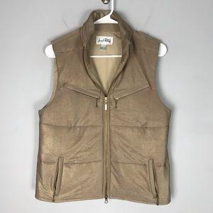 Joseph Ribkoff shimmer quilted vest full zip tan